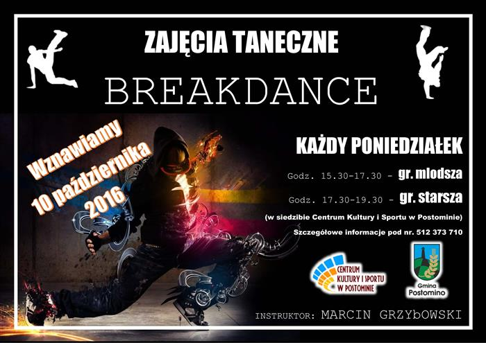 plakat ZAJECIA BreakDance 2016